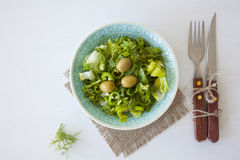 Bowl of fresh leafy green salad with olives, dill, onion and paprika. On the white table, healthy eating, diet, salad portion Stock Photography