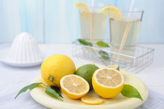 Bowl with fresh lime and lemon and two glasses of lemonade Royalty Free Stock Photos