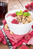 Bowl with fresh made Raspberry Yogurt Stock Images