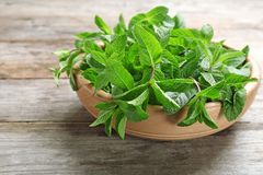 Bowl with fresh mint on table. Bowl with fresh mint on wooden table royalty free stock photo