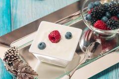 Bowl of fresh mixed berries and yogurt Stock Photo