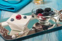 Bowl of fresh mixed berries and yogurt Stock Photos