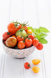 Bowl of fresh mixed tomatoes Royalty Free Stock Photography