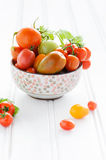 Bowl of fresh mixed tomatoes Stock Images