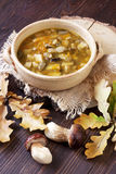 A bowl of fresh mushroom soup Stock Photography