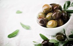 Bowl of fresh olives with copyspace Royalty Free Stock Photo