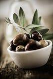 Bowl of fresh organic olives Stock Images