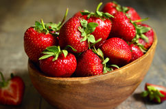 Bowl of fresh organic strawberry. Stock Image