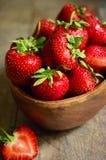Bowl of fresh organic strawberry. Royalty Free Stock Images