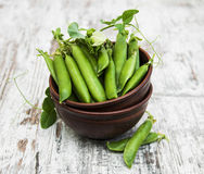 Bowl with fresh peas Stock Images