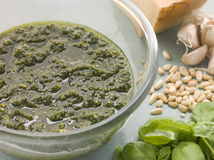 Bowl of Fresh Pesto with Ingredients Stock Images