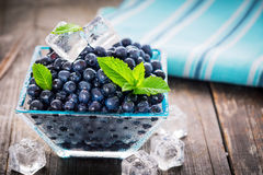 Bowl of  fresh picked blueberries Stock Image