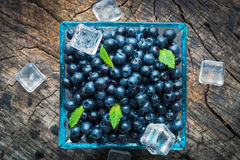 Bowl of  fresh picked blueberries Stock Photos