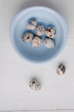 Bowl with fresh quail eggs on wooden background Stock Image