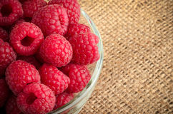 Bowl with fresh raspberries with copy space.  Royalty Free Stock Photography
