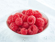 Bowl of fresh raspberries. Bowl of fresh organic raspberries Royalty Free Stock Image