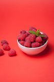 Bowl with fresh raspberries on a red background. Minimal concept. Copy space.  Royalty Free Stock Photography