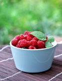 Bowl with fresh raspberry. On old wood Stock Image