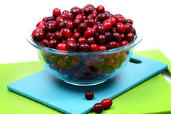 Bowl of Fresh Raw Cranberries. Glass Bowl of Fresh Raw Cranberries Royalty Free Stock Images