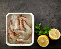Bowl of fresh raw prawns Stock Image