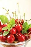 Bowl of fresh red cherries Stock Photo