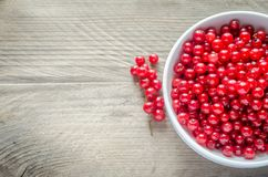 Bowl with fresh redcurrant on the wooden table Royalty Free Stock Images