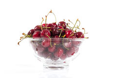 Bowl of fresh ripe cherries Stock Image