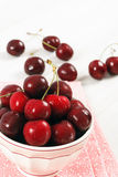 Bowl Of Fresh Ripe Red Cherries Stock Photos