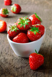 Bowl of fresh ripe red strawberries Royalty Free Stock Image