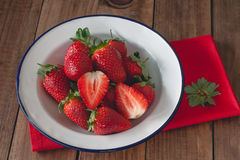 Bowl of fresh and ripe strawberries Royalty Free Stock Photo