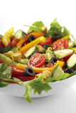 Bowl of fresh salad. A closeup, studio view of a fresh, vegetable salad in a white bowl Stock Photos
