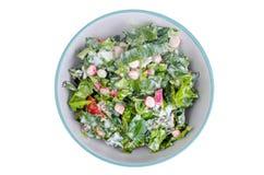 Bowl with fresh salad greens and radish. Studio Photo Royalty Free Stock Photo