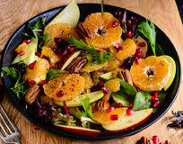 Bowl of Fresh Salad. With Orange Pecan nuts with Chia seed dressing Stock Images