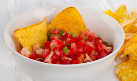 Bowl of fresh salsa dip Royalty Free Stock Photos