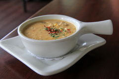 Bowl of fresh seafood chowder Stock Images