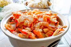 A bowl of fresh shrimp. In the local restaurant in Thailand Royalty Free Stock Image