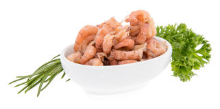 Bowl with fresh Shrimps on white Stock Photo