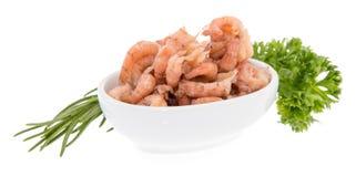 Bowl with fresh Shrimps on white Stock Photo