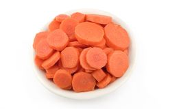 Bowl of Fresh Sliced Raw Carrots Royalty Free Stock Photos