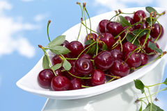 A bowl of fresh sour cherries stock image