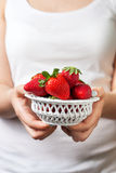 Bowl with fresh strawberries Stock Image