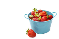 Bowl of fresh strawberries isolated on white Royalty Free Stock Photo