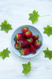 Bowl of fresh strawberries on the white table with green leaves Stock Photos