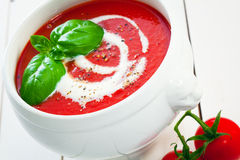 Bowl of fresh tomato soup Royalty Free Stock Photography