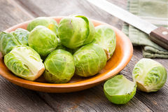 Bowl of fresh uncooked brussels sprouts Royalty Free Stock Image