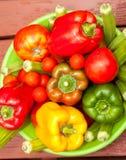 Bowl of Fresh Vegetables. Bowl of fresh garden vegetables ready for eating Stock Images