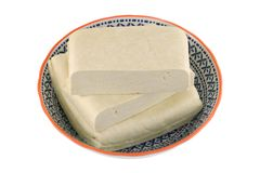 A bowl of fresh White Bean Curd (Firm Tofu) Stock Image