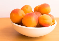 Bowl of Fresh Whole Apricots Stock Image