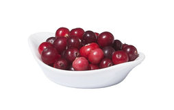 Bowl of fresh wild cranberries, isolated on white Stock Photo