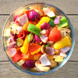 Bowl of freshly cooked colorful vegetables Stock Photo